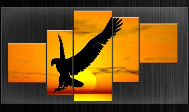 XL PARTED CANVAS PICTURES WALL ART EAGLE SPLIT MULTI PANEL FRAMED ...