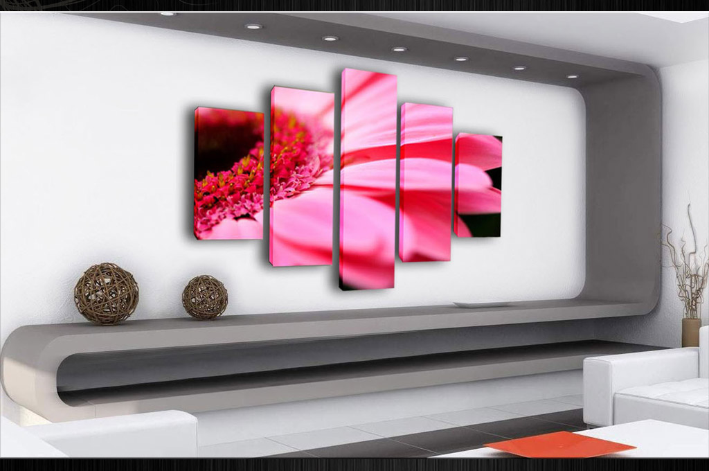 PARTED CANVAS WALL ART PICTURE SPLIT MULTI PANEL SET PINK FLOWER ...