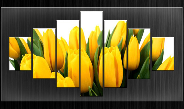 HUGE EXTRA LARGE CANVAS PICTURES YELLOW TULIPS WALL ART SPLIT MULTI ...