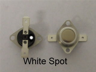 Thermostat | Stat kit white spot From October 2011 cycling thermostat has a yellow spot previously this stat had no colour identification | Part No:C00116598