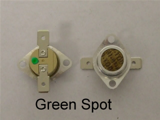 Thermostat | Stat kit green spot 130c & 106c Please make sure you fit both stats as the lower degree stat may have caused the one shot stat to go also make sure you have cleaned the condenser unit (bottom left) and filter | Part No:C00095566