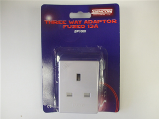 Adaptor | Three Way 13 Amp | Part No:BP1688