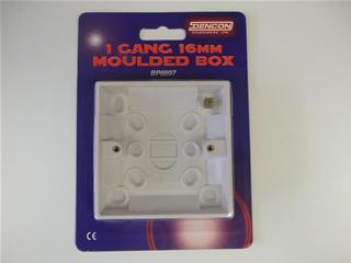 Back box | 16mm 1 gang moulded plastic | Part No:BP8897