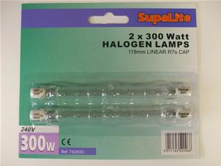 Lamps | Halogen bulb x2 300w 118mm linear R7s cap | Part No:763693