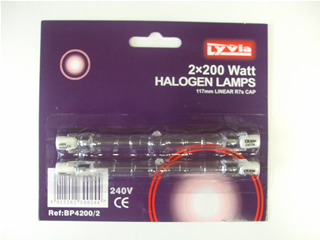 lamps | Halogen bulb x2 200w 117mm linear R7s cap | Part No:BP42002