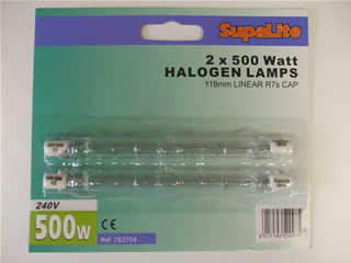 Lamps | Halogen bulb x2 500w 118mm linear R7s cap | Part No:763708