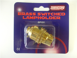 Brass Lampholder | Switched suitable for lamp or pendant CE approved | Part No:BP101