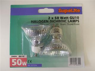 Lamps | GU10 halogen dichroic bulb 50w x2 | Part No:557596