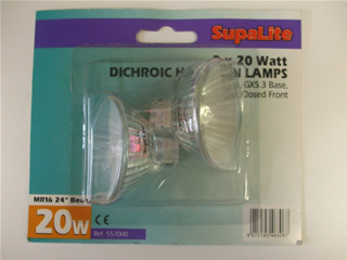 Lamps | MR16 12V halogen bulb 20w x2 | Part No:557000