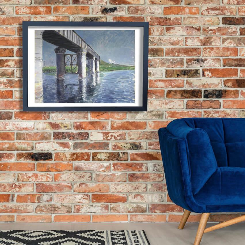 Gustave Caillebotte - Seine & Railroad Bridge Wall Art Poster Print