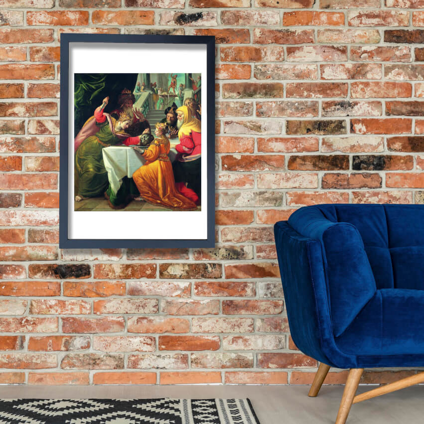 Andrea Ansaldo - Herodias Presented With Head Of Baptist Wand Kunst Poster Drucken