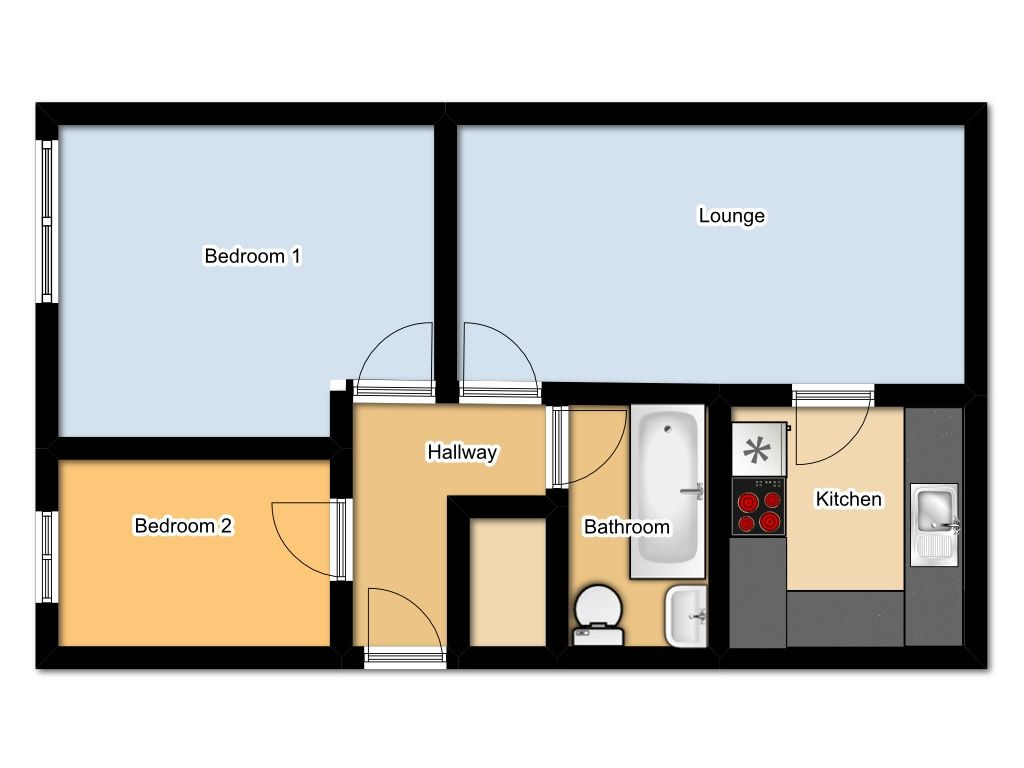 2 Bedroom Flat Flat/apartment For Sale - Floorplan 1