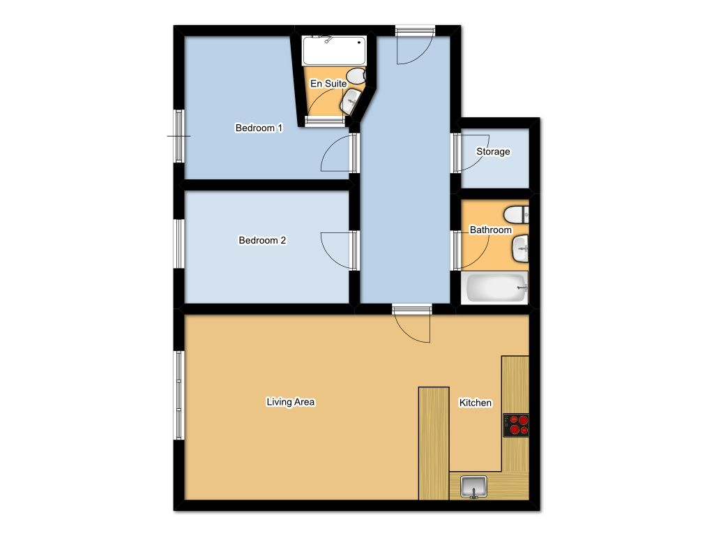 2 Bedroom Apartment Flat/apartment For Sale - Floorplan 1