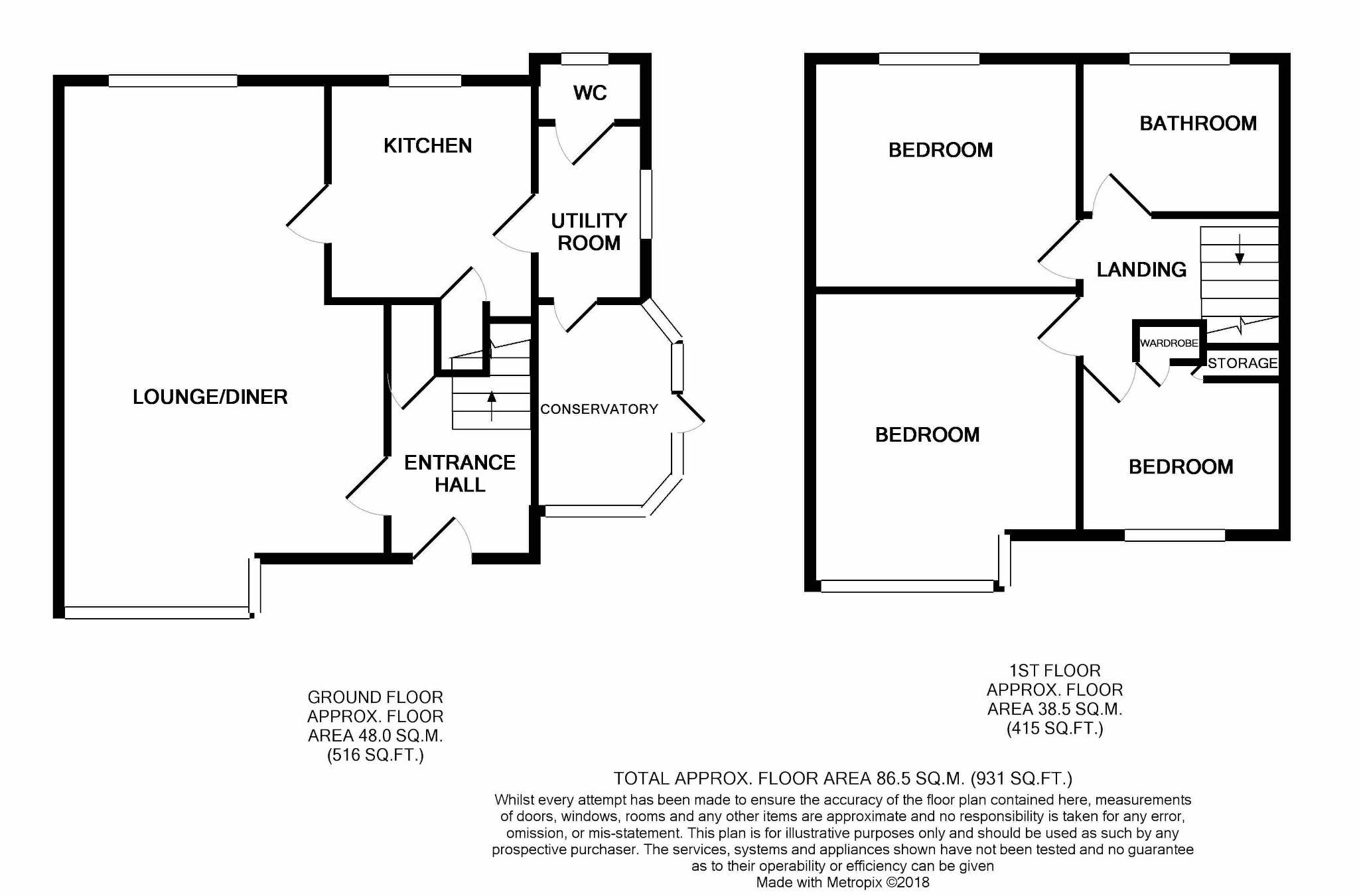 3 Bedroom Semi-detached House For Sale - Floorplan 1
