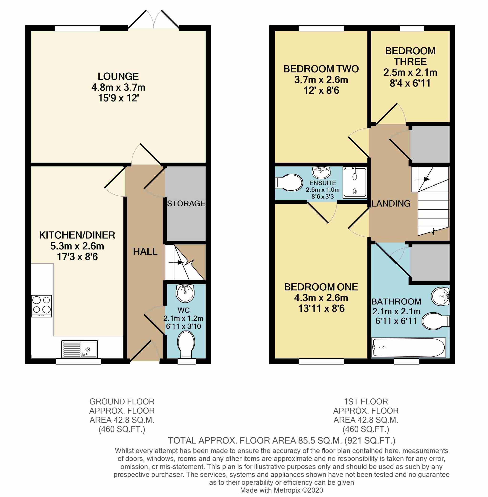 3 Bedroom Mews House For Sale - Floorplan 1