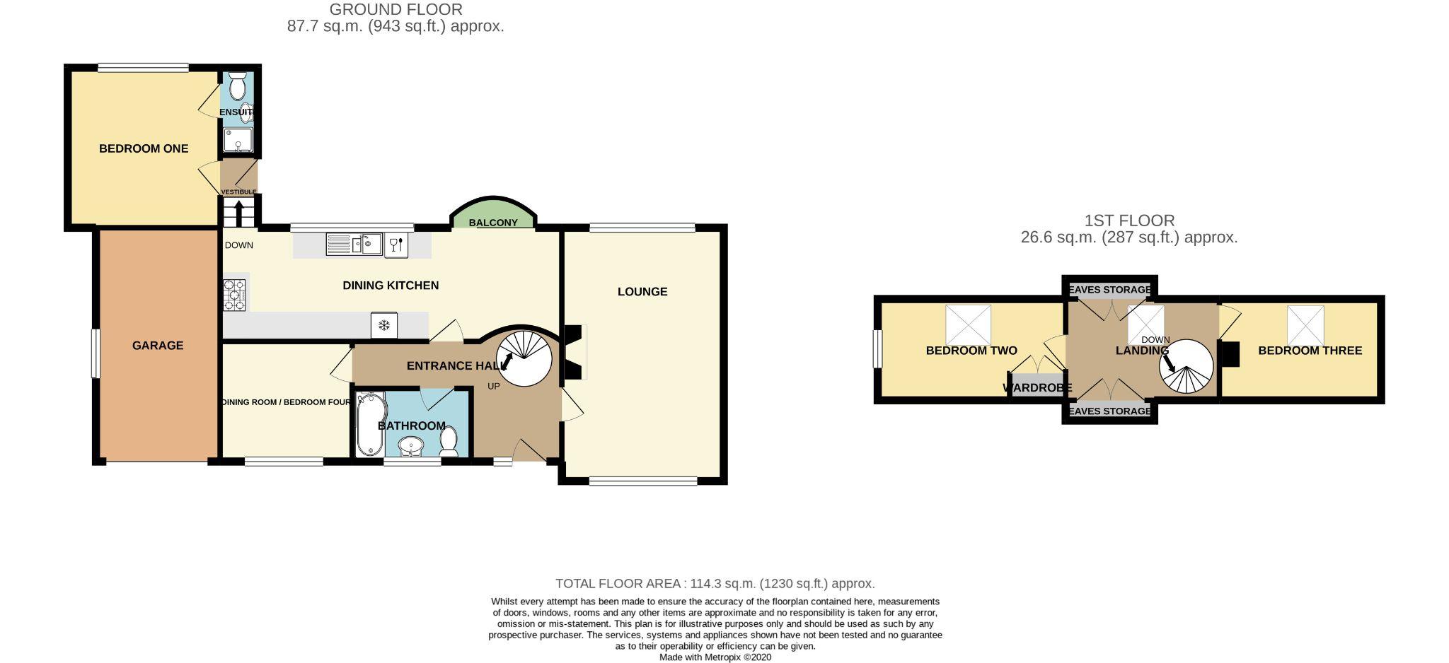 3 Bedroom Detached House For Sale - Floorplan 1