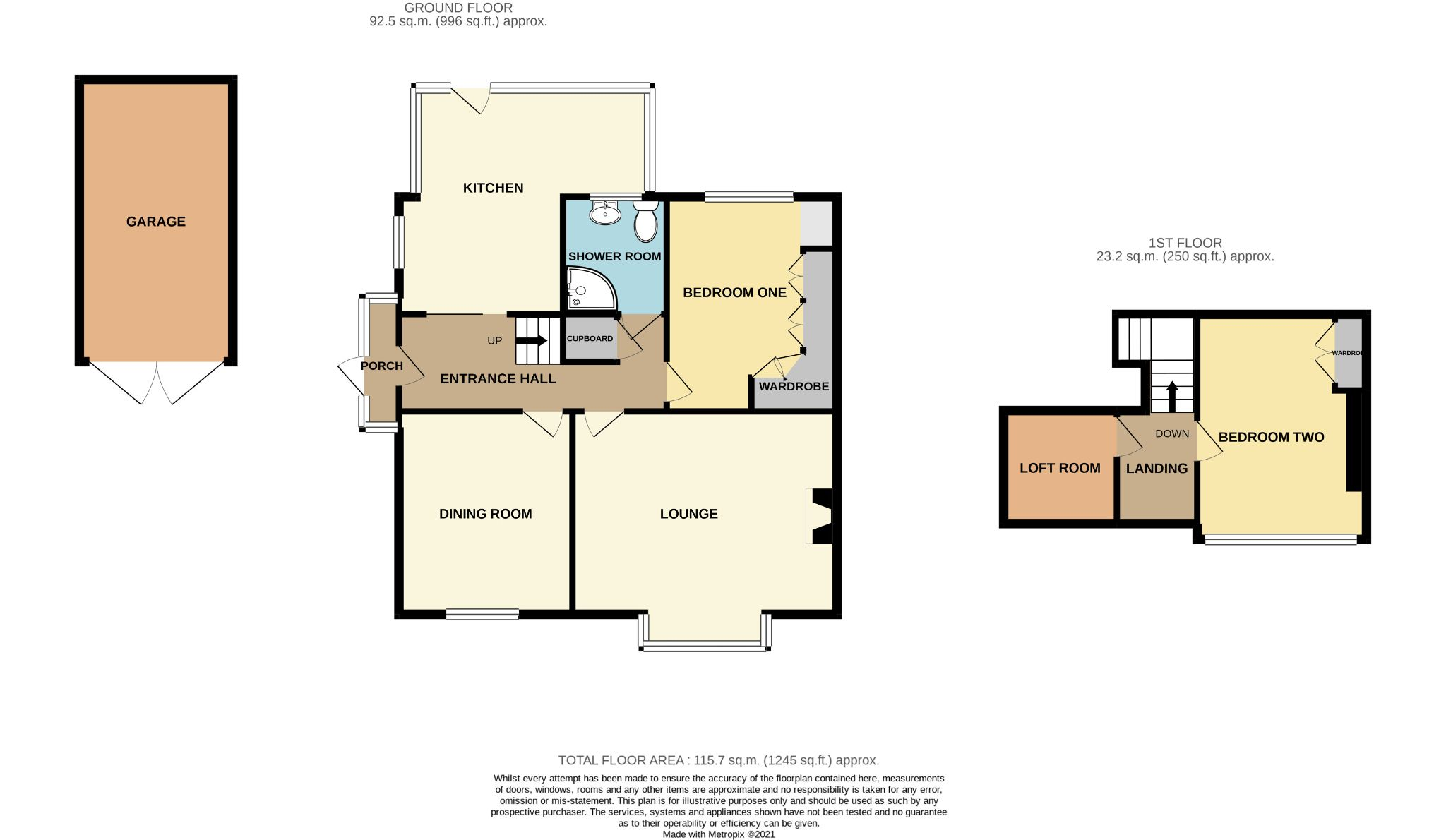 2 Bedroom Semi-detached Bungalow For Sale - Floorplan 1