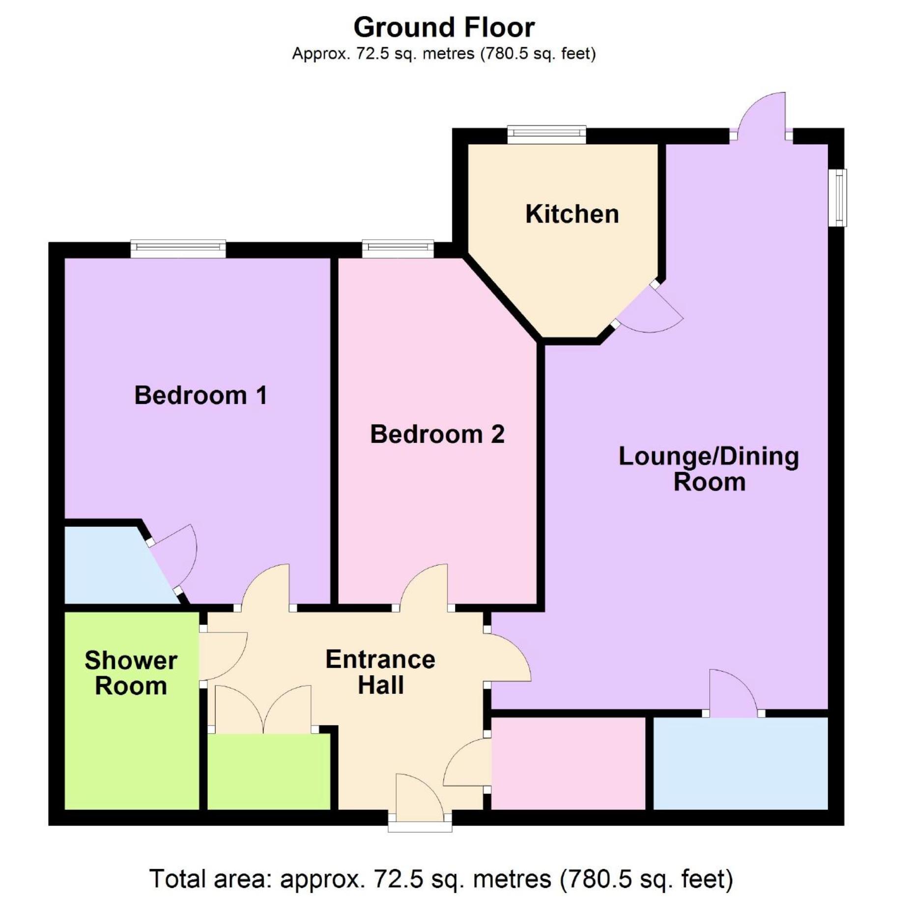 2 Bedroom Ground Floor Flat/apartment For Sale - Floorplan 1