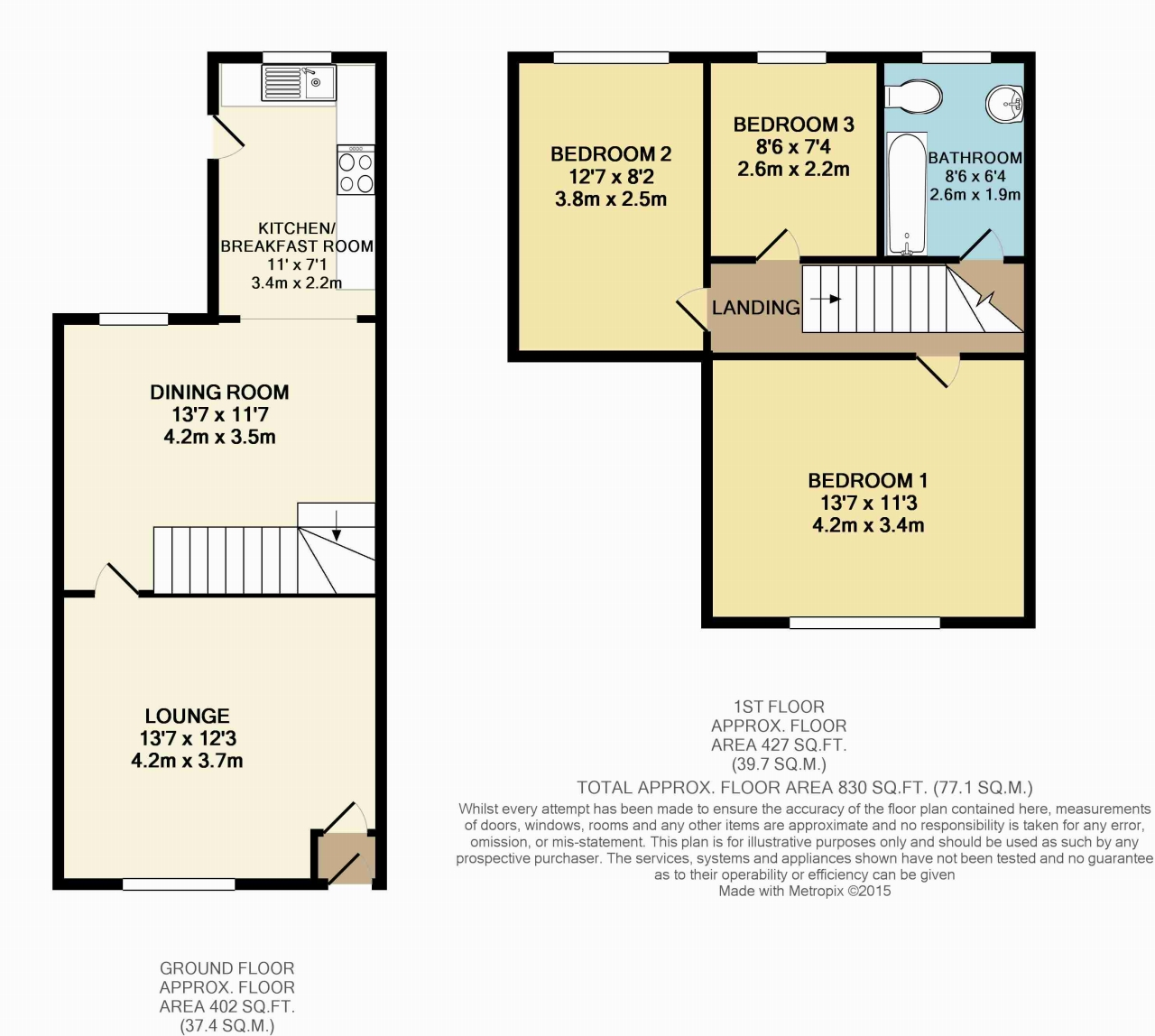 3 Bedroom Mid Terraced House - Floorplan 1