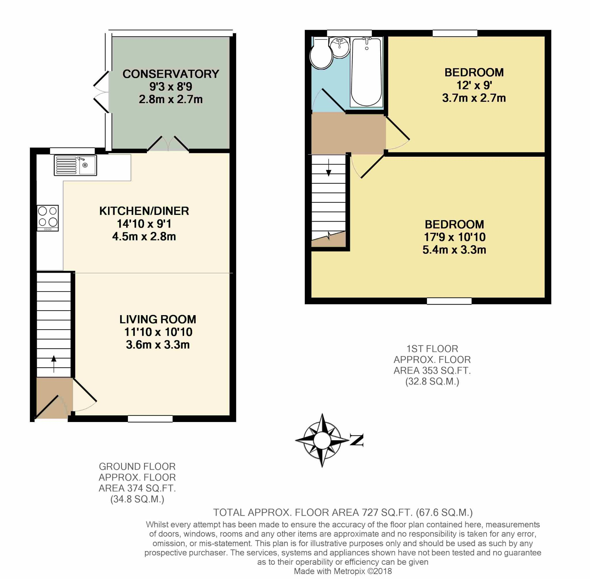 2 Bedroom Mid Terraced House For Sale - Floorplan 1
