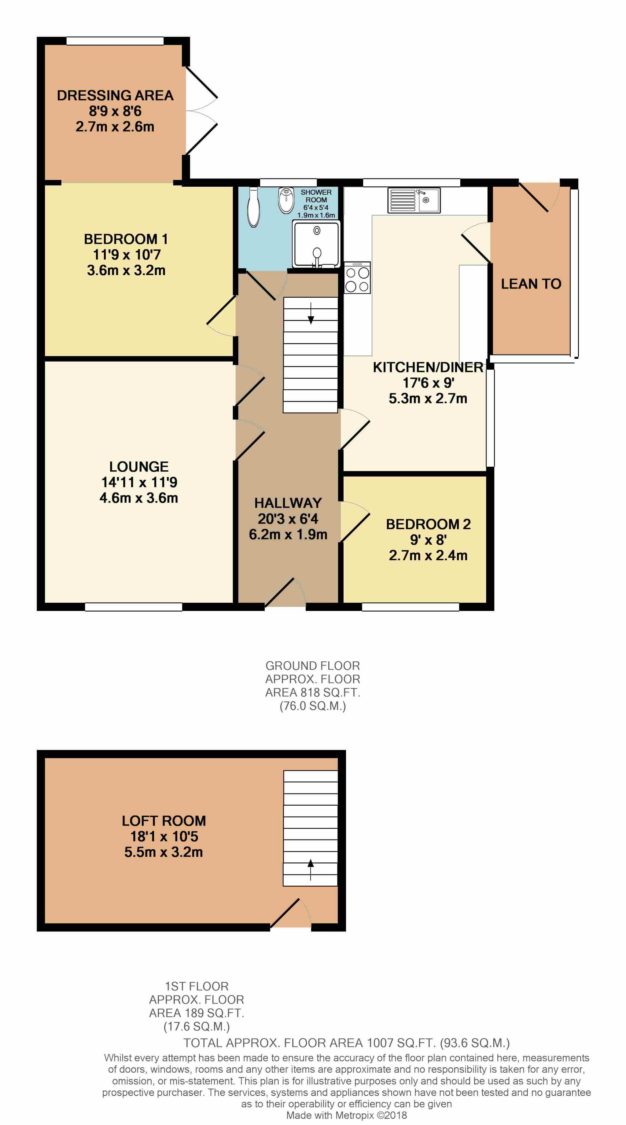 2 Bedroom Semi-detached Bungalow For Sale - Floorplan 1
