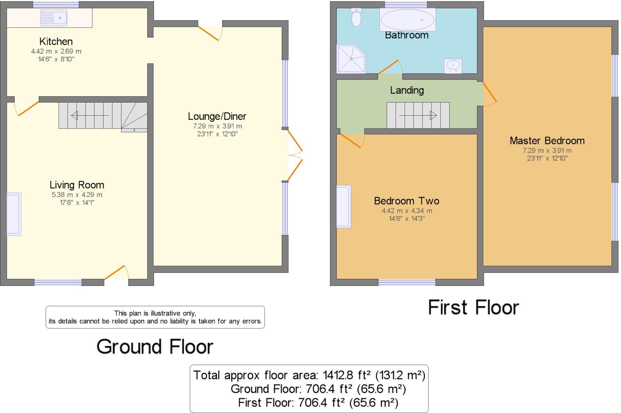 2 Bedroom Semi-detached House For Sale - Floorplan 1