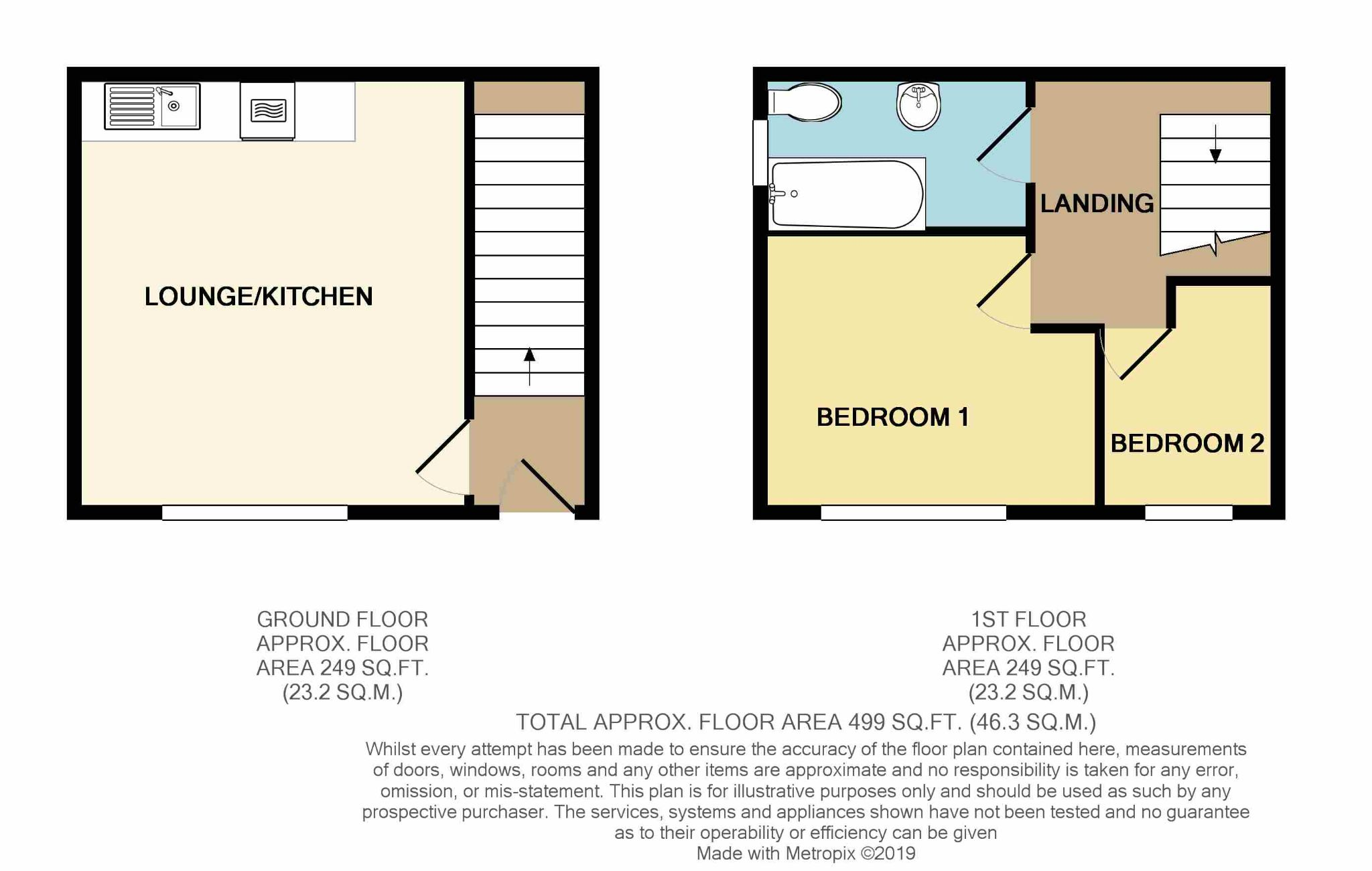 2 Bedroom End Terraced House For Sale - Floorplan 1