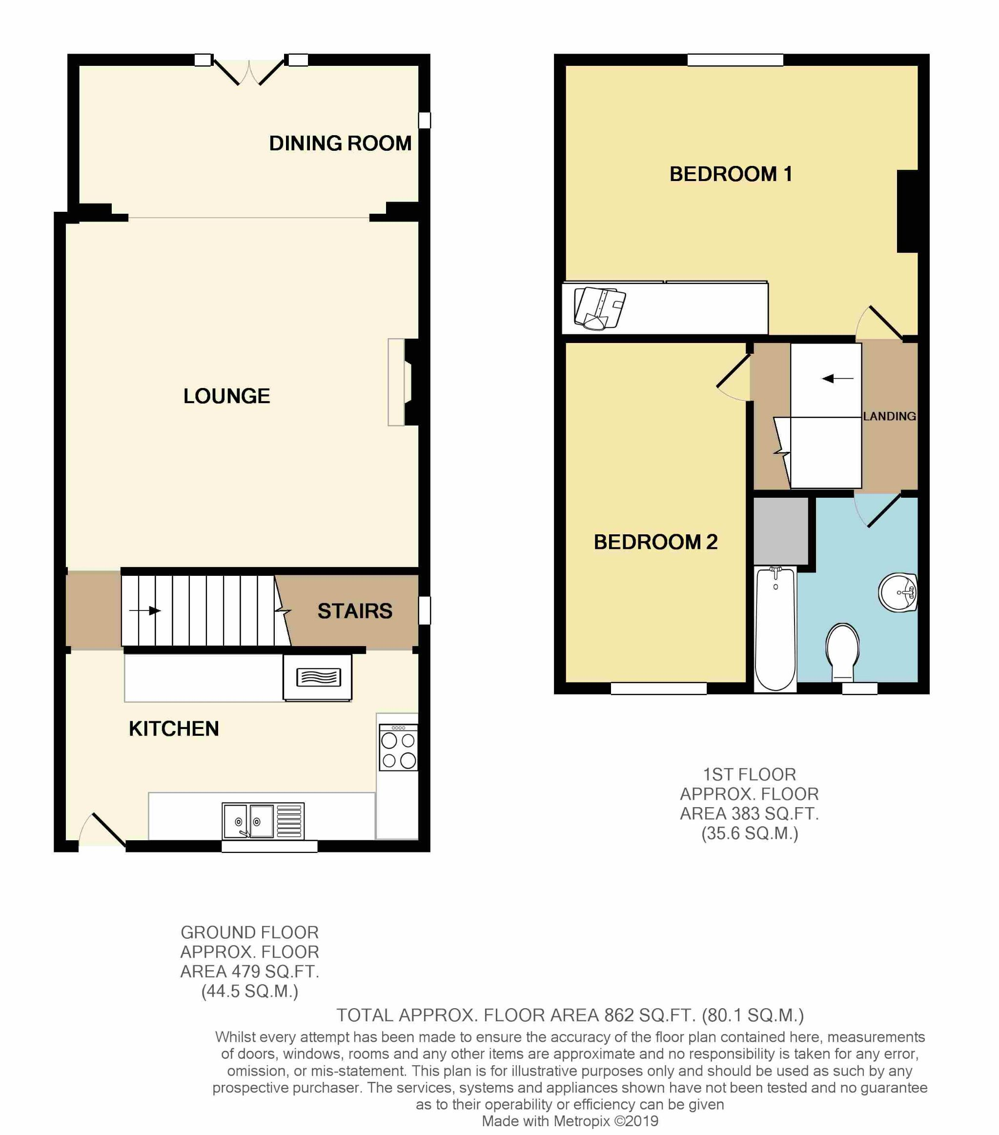 2 Bedroom End Terraced House To Rent - Floorplan 1
