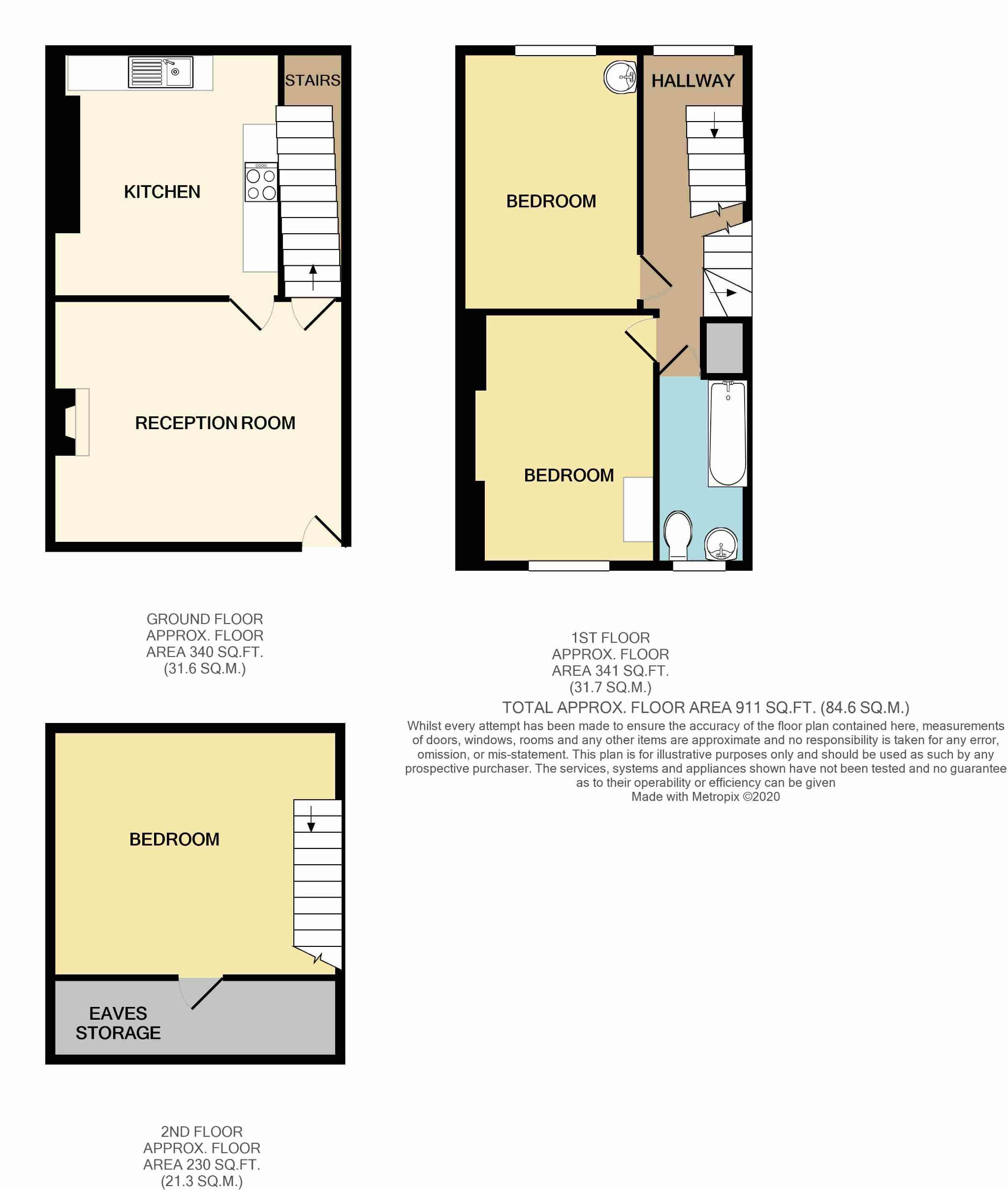 3 Bedroom Mid Terraced House For Sale - Floorplan 1