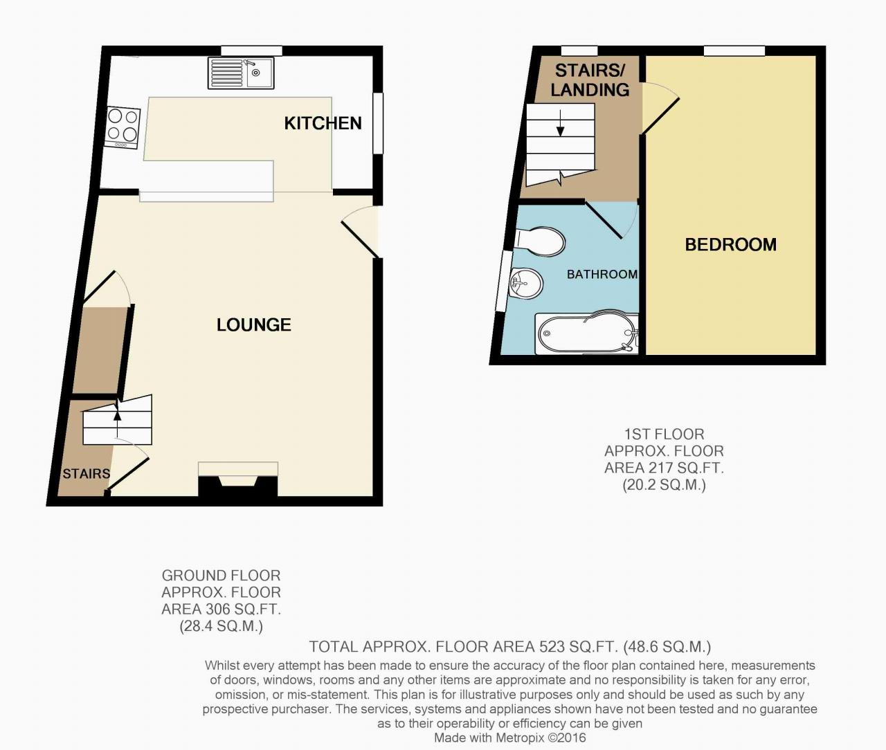 1 Bedroom Mid Terraced House For Sale - Floorplan 1