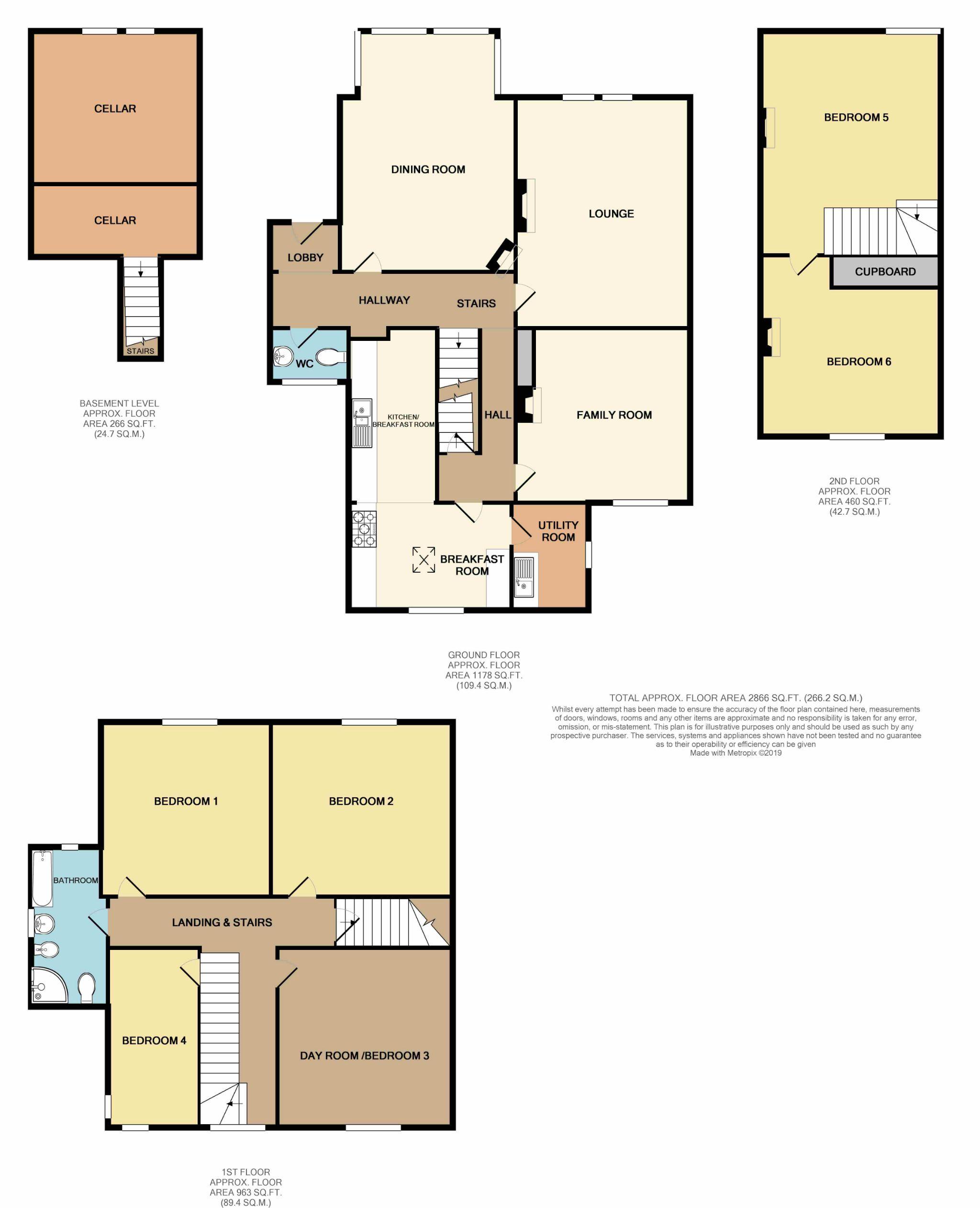6 Bedroom Semi-detached House For Sale - Floorplan 1