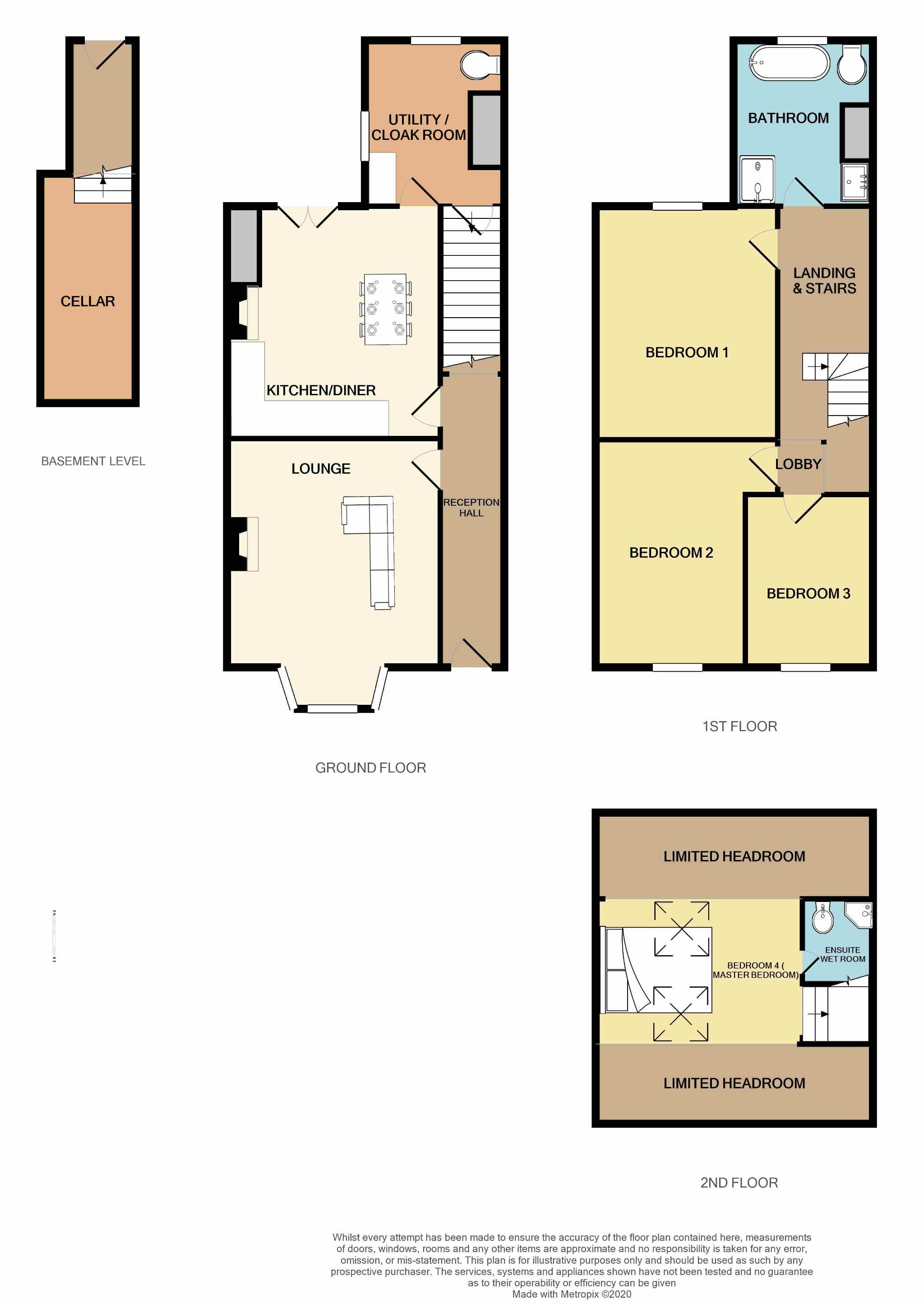 4 Bedroom Mid Terraced House For Sale - Floorplan 1