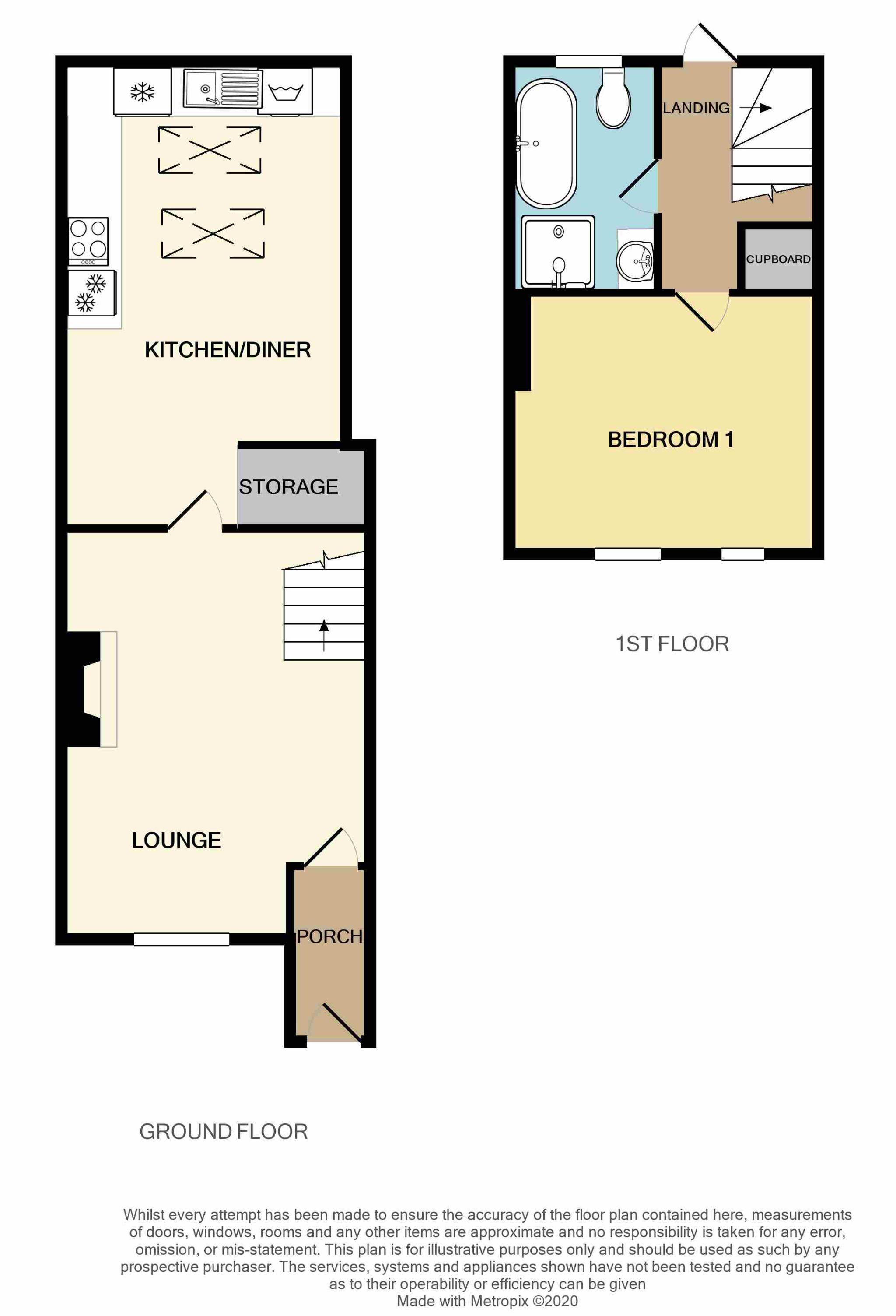 1 Bedroom Cottage House For Sale - Floorplan 1