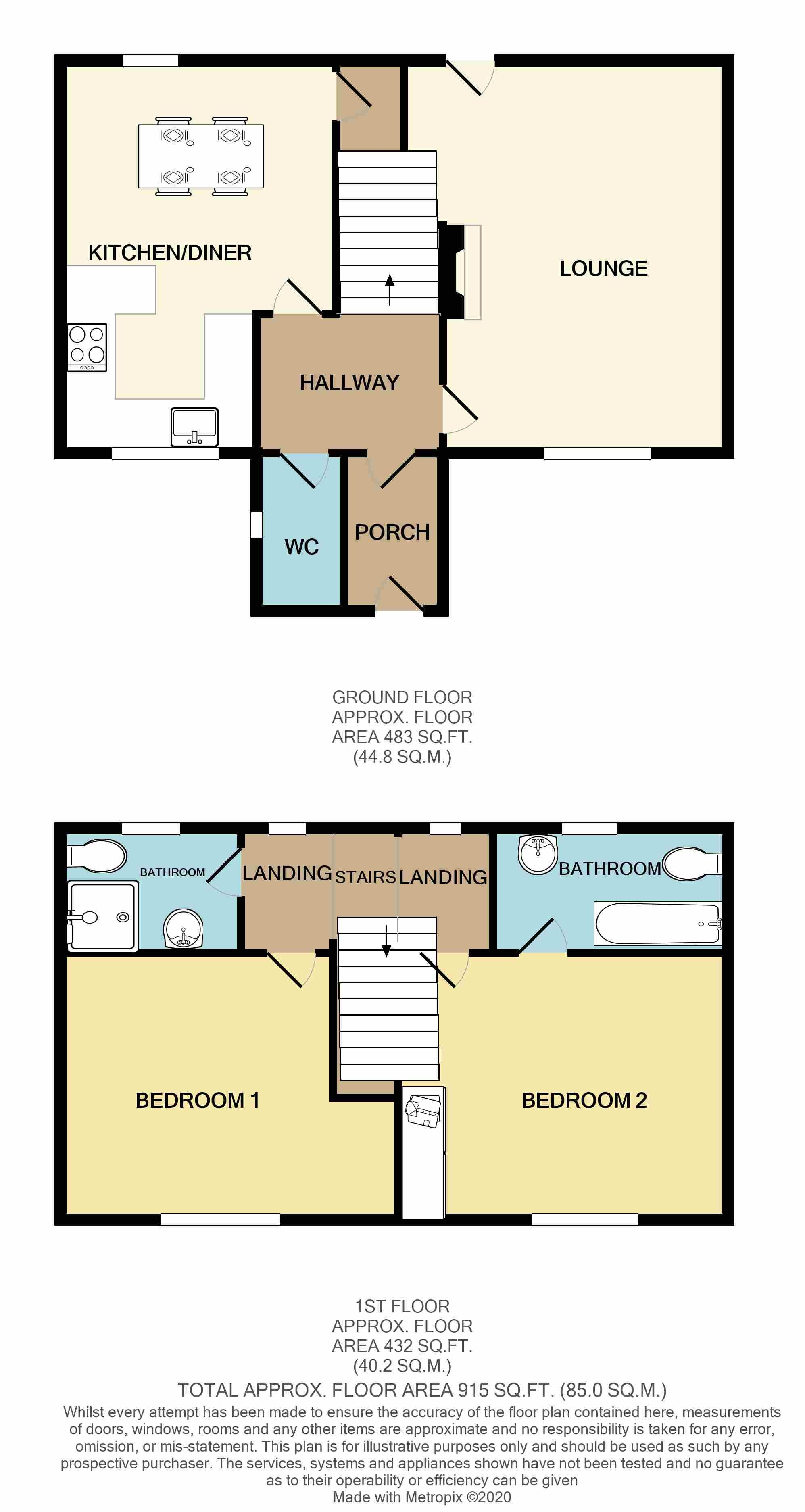 2 Bedroom Mid Terraced House To Rent - Floorplan 1