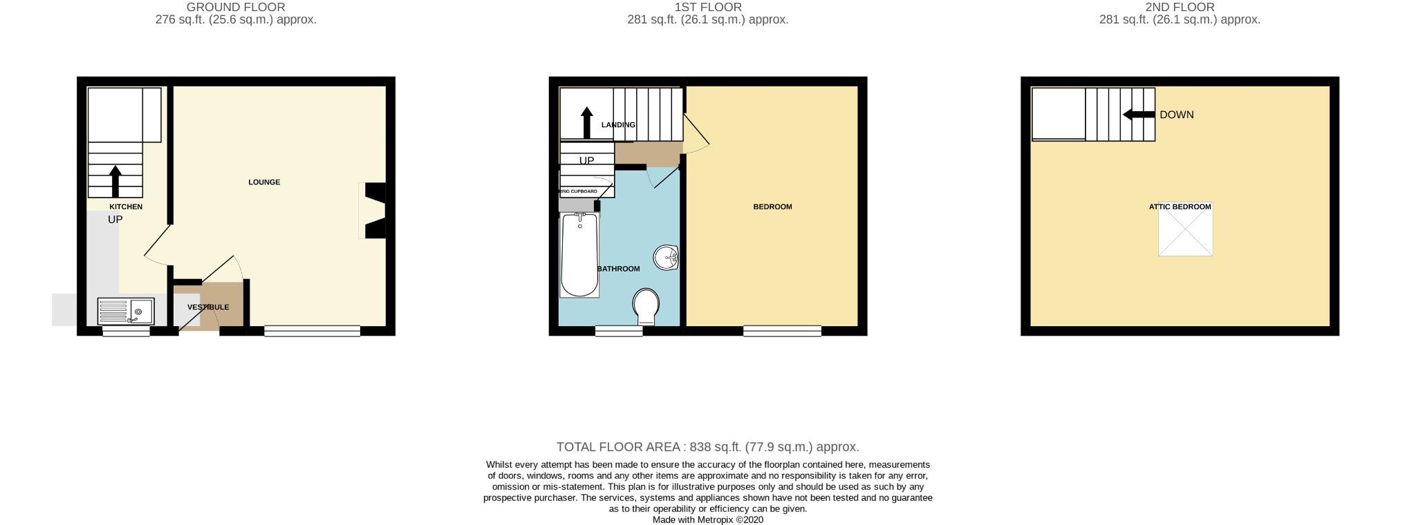 2 bedroom mid terraced house For Sale in Todmorden - Floorplan 1.