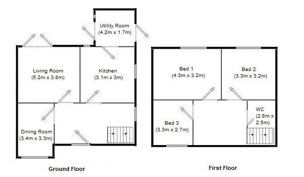 3 bedroom semi-detached house SSTC in Wythenshawe - Floorplan 1.