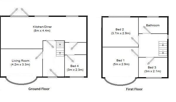 4 bedroom semi-detached house Sale Agreed in Manchester - Floorplan 1.