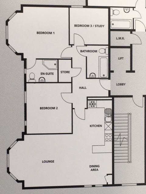 3 bedroom apartment flat/apartment SSTC in Sale - Floorplan.