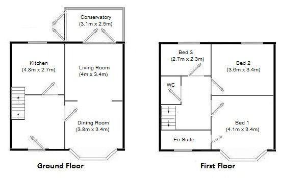 3 bedroom semi-detached house Under Offer in Manchester - Floorplan 1.