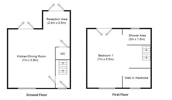 1 bedroom mid terraced house Sale Agreed in Manchester - Floorplan 1.