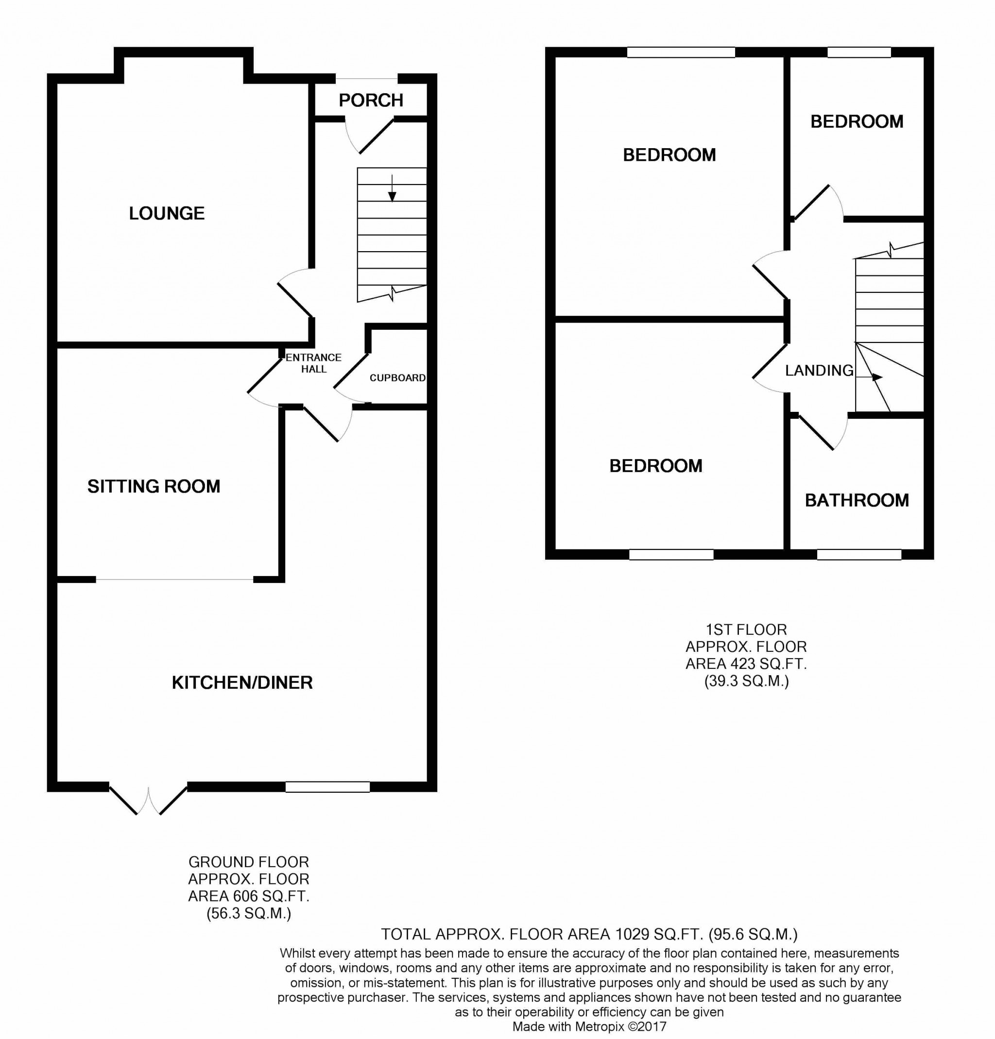 3 bedroom mid terraced house SSTC in Ipswich - Floorplan 1
