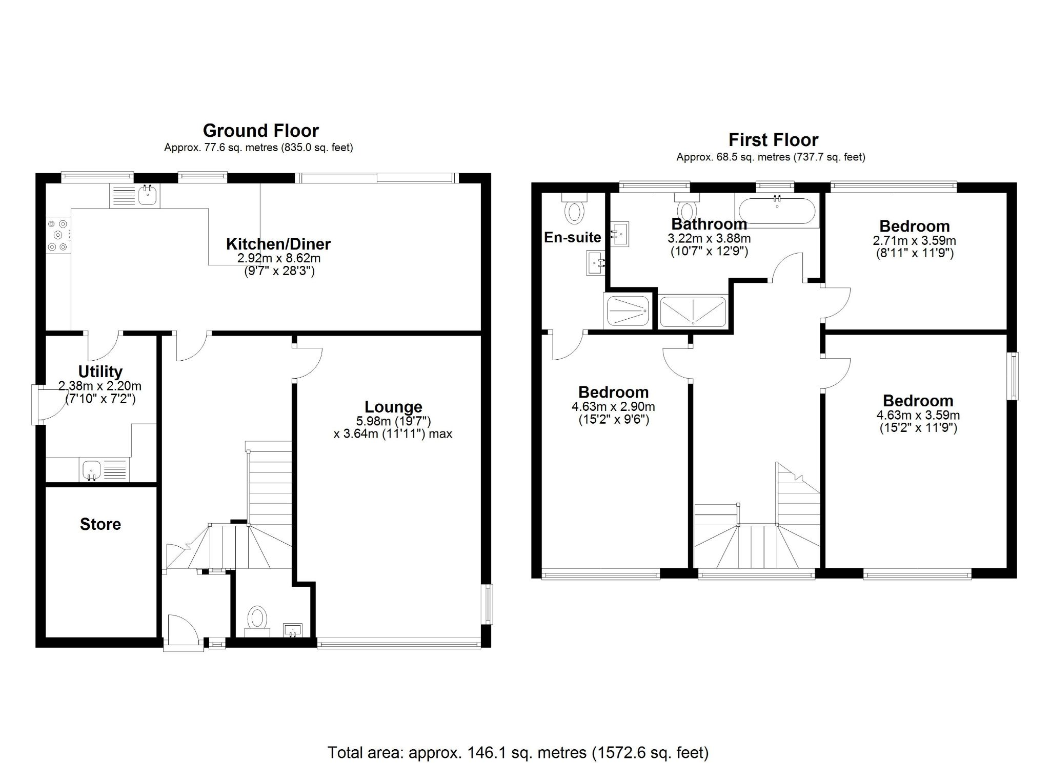 3 bedroom detached house SSTC in Solihull - Floorplan 1.