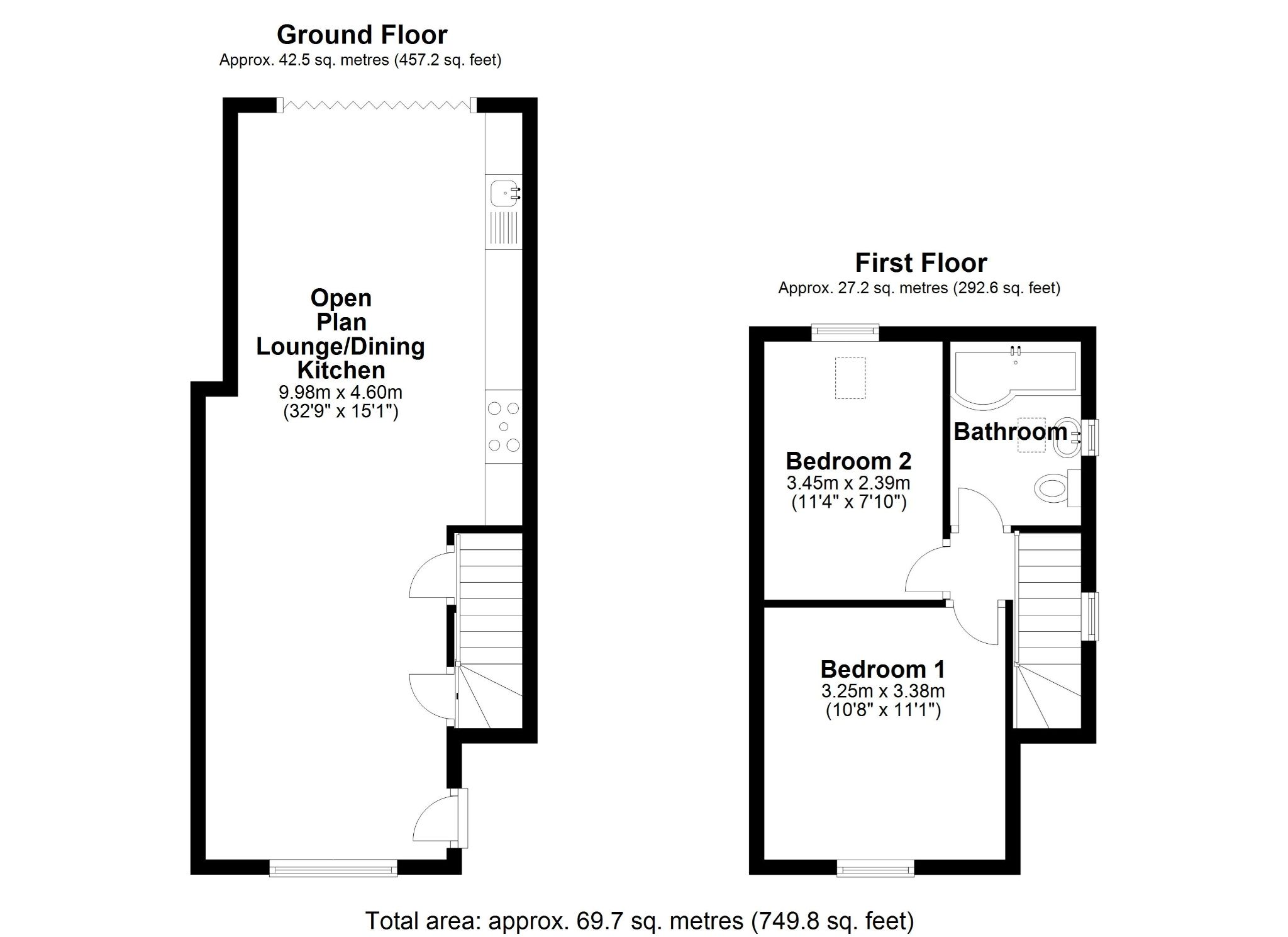 2 bedroom end terraced house For Sale in Solihull - Floorplan 1.