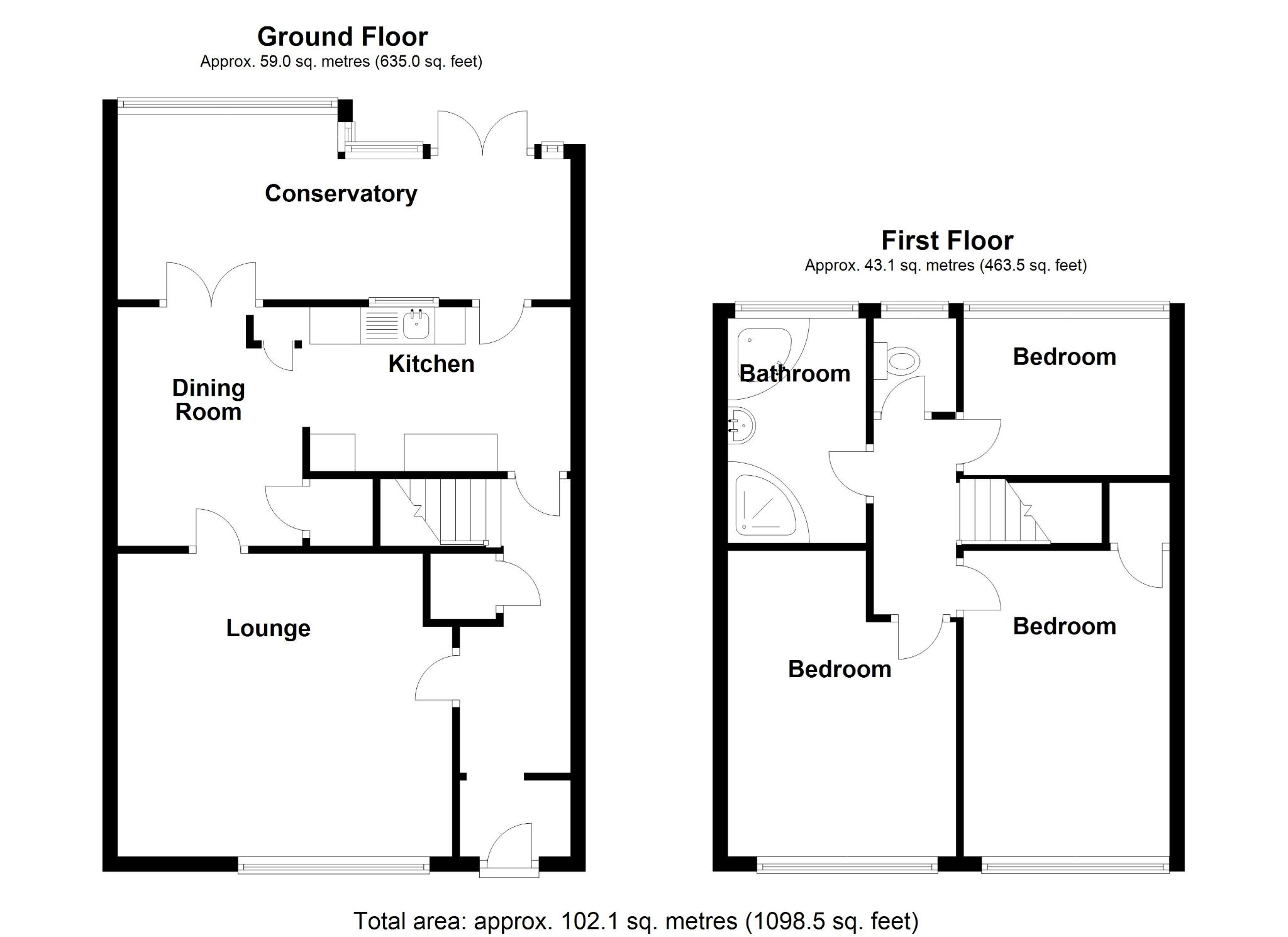 3 bedroom mid terraced house For Sale in Solihull - Floorplan 1.