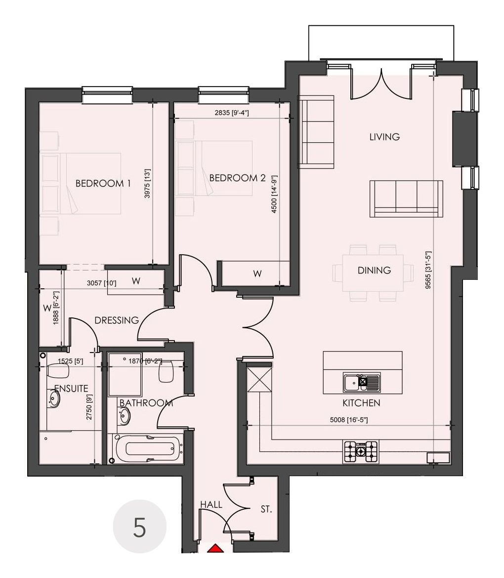 2 bedroom apartment flat/apartment SSTC in Solihull - Floorplan 1.