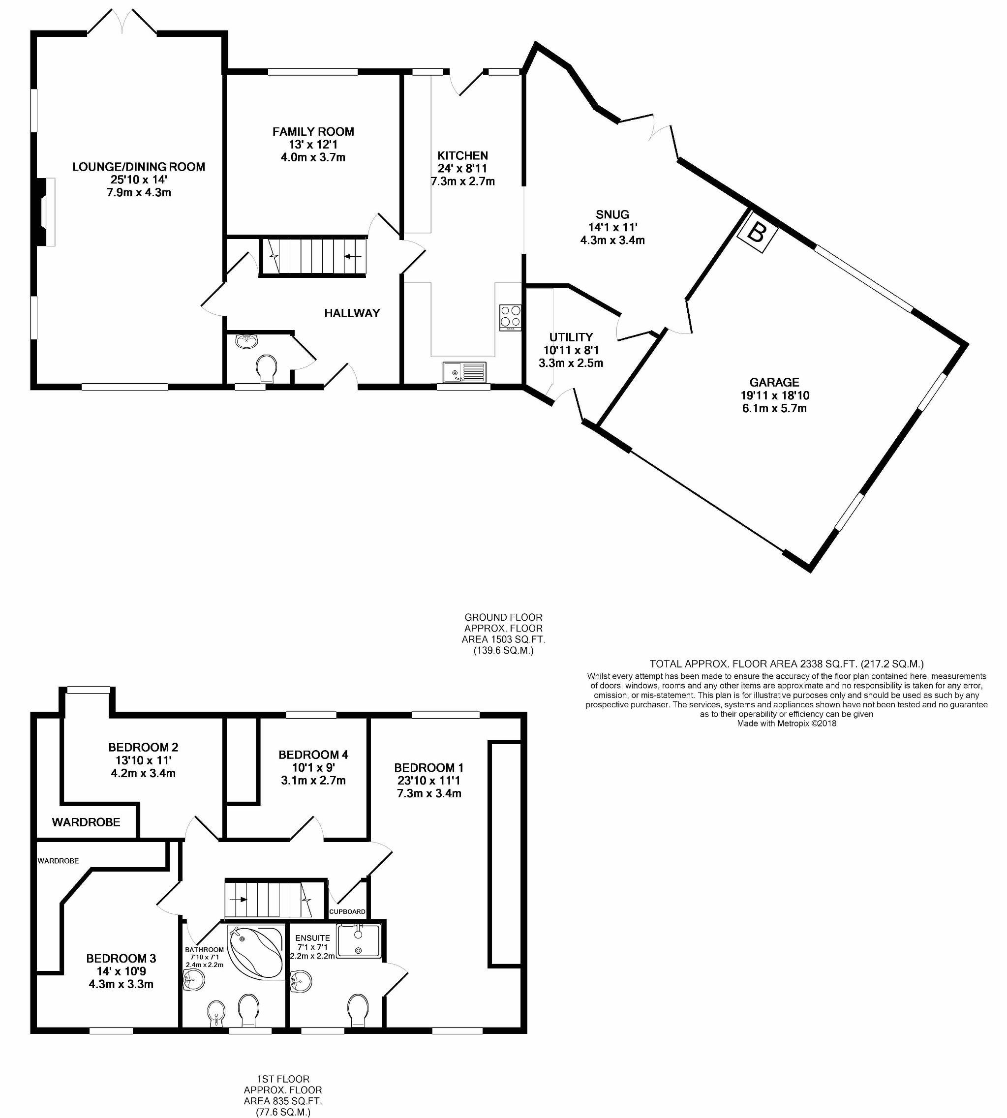 4 bedroom detached house Sale Agreed in Mount Murray - Floorplans