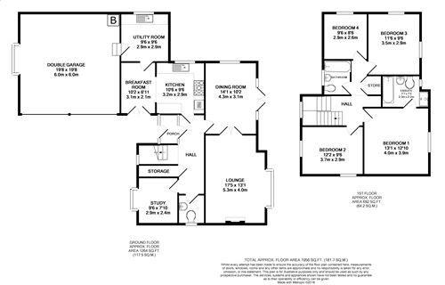 4 bedroom detached house For Sale in Ballasalla - Floorplan 1