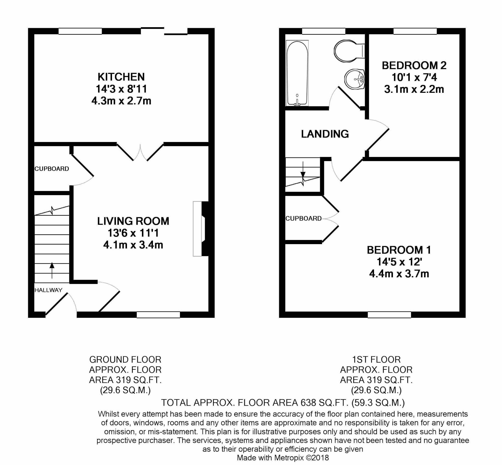 2 bedroom mid terraced house For Sale in Peel - Floorplan 1