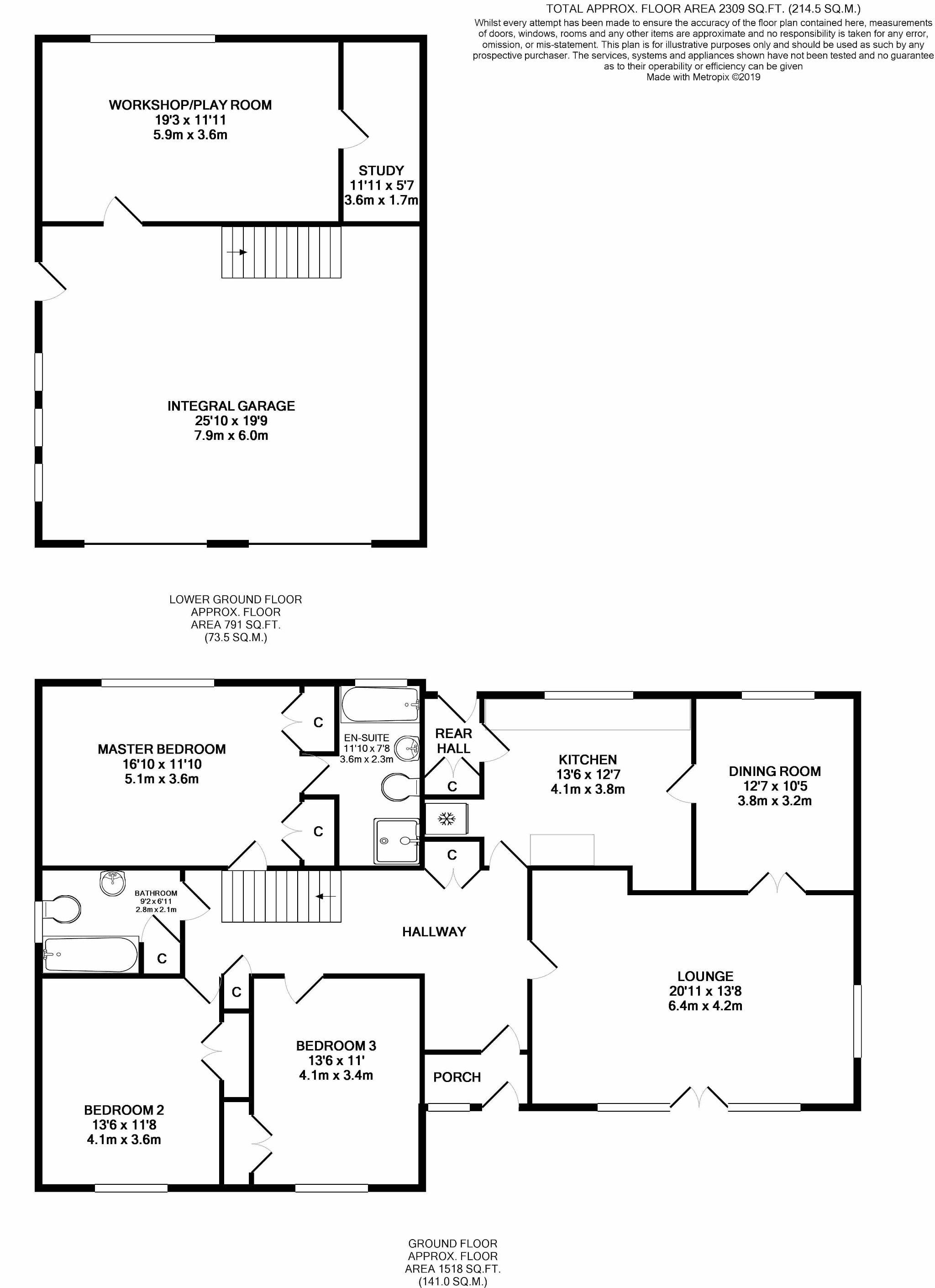 3 bedroom detached bungalow For Sale in Douglas - Floorplan 1