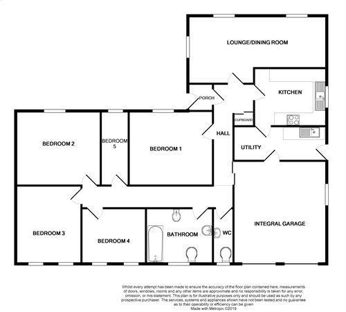 5 bedroom detached bungalow For Sale in Ballasalla - Floorplan 1
